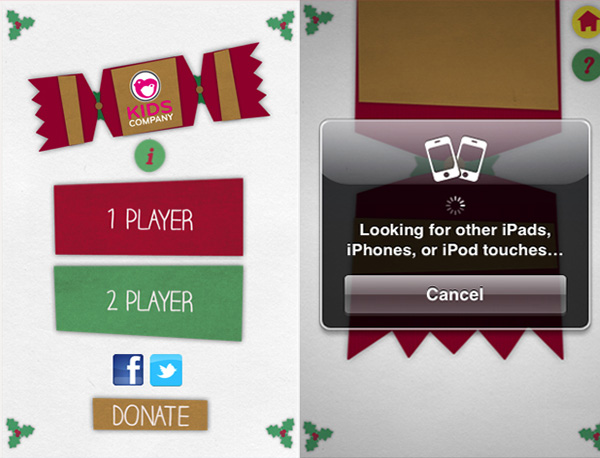 Christmas cracker app intro and connecting screens on iPhone.