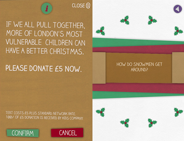 Christmas cracker app donation and hidden message screens on iPhone.