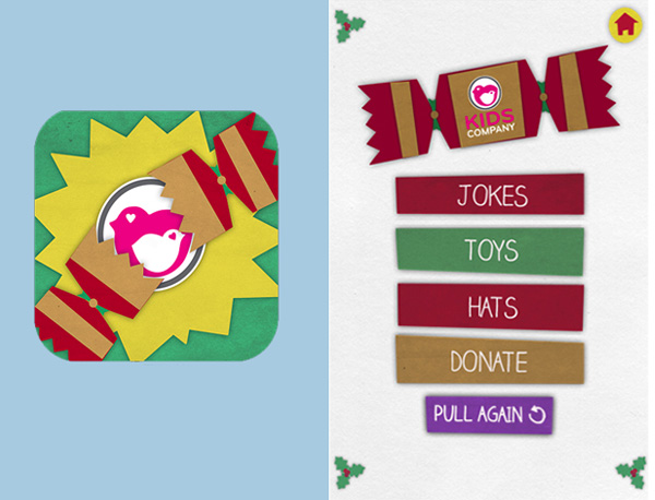 Christmas cracker app logo and menu screens on iPhone.