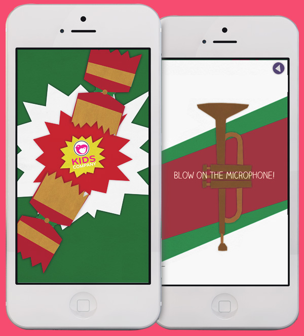 Christmas cracker app screens on iPhone.